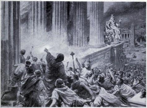 impressie van de brand in de oude bibliotheek