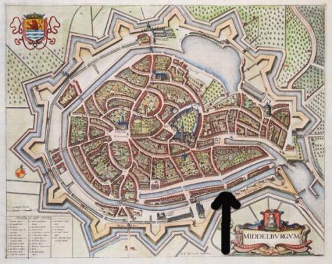 oude kaart met bij de pijl de open ruimte waar nu mijn pakhuis staat
